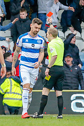 March 9, 2019 - London, England, United Kingdom - Referee Gavin Ward shows a second yellow card to and sends off Queens Park Rangers Grant Hall during the second half of the Sky Bet Championship match between Queens Park Rangers and Stoke City at Loftus Road Stadium, London on Saturday 9th March 2019. (Credit Image: © Mi News/NurPhoto via ZUMA Press)