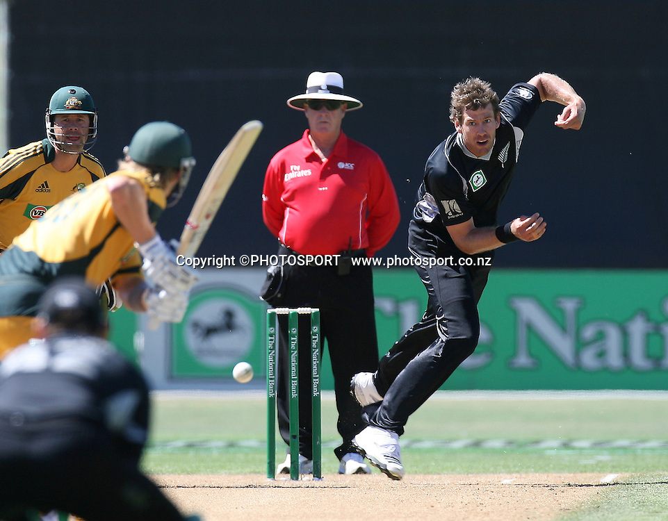 Jacob Oram bowls to Shane Watson. New Zealand Black Caps v Australia. 1st ODI, Chappell-Hadlee Trophy Series. McLean Park, Napier. Wednesday 03 March 2010  Photo: John Cowpland/PHOTOSPORT