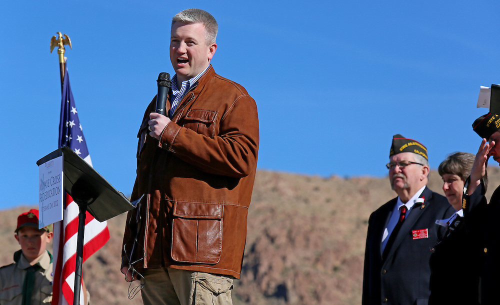 Hiram Sasser, attorney with the Liberty Institute speaks during an unveiling ceremony for the Mojave Cross on Veterans Day in Cima, California on Sunday, November 11, 2012.  A battle has been brewing for over Thirteen years over whether the cross can legally stay on Sunrise Rock because it violates Separation of Church and State and is in the Mojave National Perserve which is on Federal Lands.  The Veterans of Foreign Wars and American Legion Society raised money to purchase the plot of land and has kept the cross in place and today serves as war memorial.