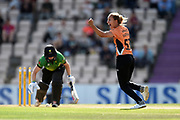 Tash Farrant of Southern Vipers celebrates the wicket of Heather Knight during the Women's Cricket Super League match between Southern Vipers and Western Storm at the Ageas Bowl, Southampton, United Kingdom on 11 August 2019.