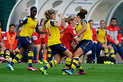 Bristol Academy's Grace McCarthy runs into Arsenal Ladies' Casey Stoney - Photo mandatory by-line: Dougie Allward/JMP - Mobile: 07966 386802 - 20/09/2014 - SPORT - FOOTBALL - Bristol - SGS Wise Campus - BAWFC v Arsenal Ladies - FA Womens Super League