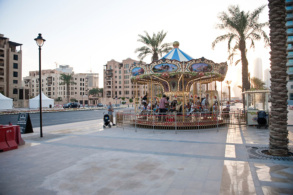 A childrens' carousel in the Dowtown Burj Dubai district in Dubai, UAE on Friday, February 12, 2010. Archive of images of Dubai by Dubai photographer Siddharth Siva