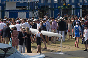 """Henley on Thames, United Kingdom, 4th July 2018, Wednesday, View,"""" Kings College School"""".  carry their"""" damaged boat"""" from the """"Boating Pontoon"""", on  first day of the annual,  """"Henley Royal Regatta"""", Henley Reach, River Thames, Thames Valley, England, © Peter SPURRIER,"""