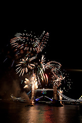 © Licensed to London News Pictures. 09/09/2012. London, UK. Spectacular fireworks explode at Tower Bridge in London for the Paralympics closing ceremony on 9 September 2012.  Photo credit : Vickie Flores/LNP.