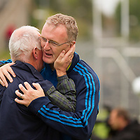 Cratloe's Manager Joe McGrath and Selector Brian Lohan celebrate after Cratloe's win of the county senior hurling final