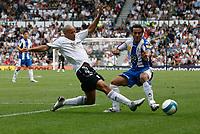 Photo: Steve Bond.<br />Derby County v RCD Espanyol. Pre Season Friendly. 04/08/2007. Tyrone Mears attacks the Espanyol winger