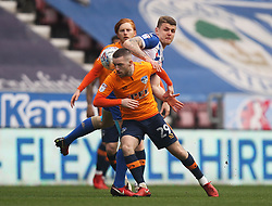 Jack Byrne of Oldham Athletic and Max Power of Wigan Athletic (R) in action - Mandatory by-line: Jack Phillips/JMP - 30/03/2018 - FOOTBALL - DW Stadium - Wigan, England - Wigan Athletic v Oldham Athletic - Football League One