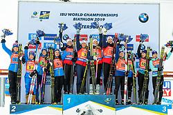 March 16, 2019 - –Stersund, Sweden - 190316 Hanna Öberg, Linn Persson, Mona Brorsson, Anna Magnusson of Sweden, Synnøve Solemdal, Ingrid Landmark Tandrevold, Tiril Eckhoff, Marte Olsbu Røiseland of Norway and Anastasiya Merkushyna, Vita Semerenko, Yuliia Dzhima and Valj Semerenko of Ukraine celebrate after the Women's 4x6 km Relay during the IBU World Championships Biathlon on March 16, 2019 in Östersund..Photo: Petter Arvidson / BILDBYRÃ…N / kod PA / 92268 (Credit Image: © Petter Arvidson/Bildbyran via ZUMA Press)