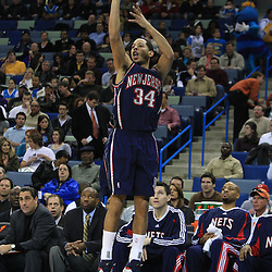 21 January 2009:  New Jersey Nets guard Devin Harris (34) shoots during a 102-92 win by the New Orleans Hornets over the New Jersey Nets at the New Orleans Arena in New Orleans, LA. .