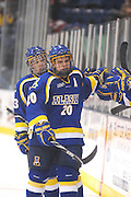 UAF's Dion Knelsen (20) gets congratulated by the UAF bench after scoring in the third period of the Nanooks Saturday night win over LSSU.