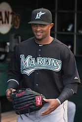 July 26, 2010; San Francisco, CA, USA;  Florida Marlins third baseman Emilio Bonifacio (1) before the game against the San Francisco Giants at AT&T Park.  Florida defeated San Francisco 4-3.