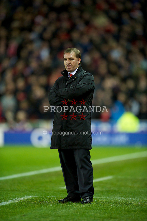 STOKE-ON-TRENT, ENGLAND - Boxing Day Wednesday, December 26, 2012: Liverpool's manager Brendan Rodgers during the Premiership match against Stoke City at the Britannia Stadium. (Pic by David Rawcliffe/Propaganda)