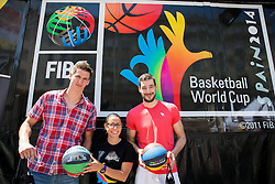 Tomislav Zubcic, Cristel Garcia and Luka Babic at FIBA Basketball World Cup Spain 2014 Trophy Tour, on June 22, 2014 in Ban Jelacic Square, Zagreb, Croatia. Photo By Vid Ponikvar / Sportida