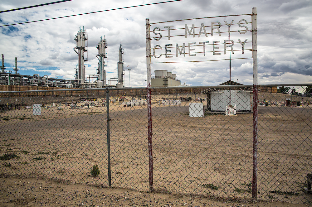 St. Mary's Cemetery in Bloomfield, NM, next to a Conoco-Phillips San Juan Gas Plant. Bloomfield is in the northwestern part in New Mexico in the San Juan Basin.