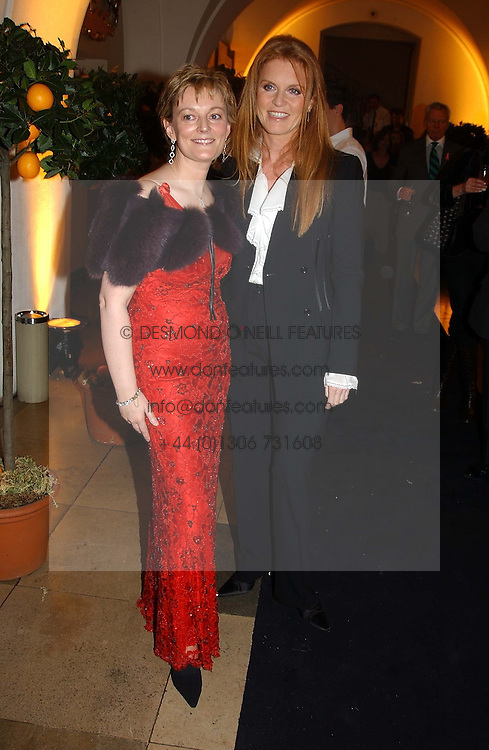 Left to right, JO MALONE and SARAH, DUCHESS OF YORK<br /><br />at a party to celebrate the 10th anniversary of Jo Malone the perfumer held at The Banquetting House, Whitehall, London on 21st October 2004.<br /><br /><br /><br />NON EXCLUSIVE - WORLD RIGHTS