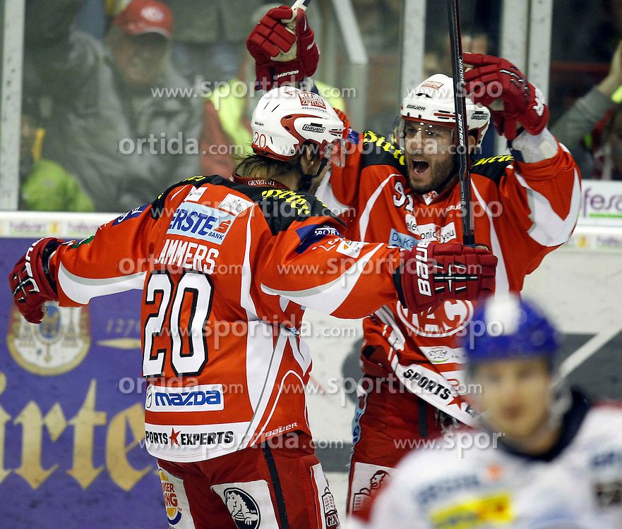 "13.03.2012, Stadthalle, Klagenfurt, AUT, EBEL, EC KAC vs KHL Medvescak Zagreb, Playoff, Halbfinale, 4. Spiel, im Bild der Jubel von Johan Lammers und Joseph Tenute (KAC),  during the semifinal Match of ""Erste Bank Icehockey League"", fourth play between EC KAC and KHL Medvescak Zagreb at Stadthalle, Klagenfurt, Austria on 2012/03/13. EXPA Pictures © 2012, PhotoCredit: EXPA/ Oskar Hoeher."