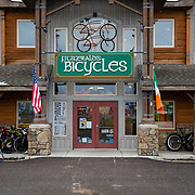 The exterior of Fitzgerald's Bike and Coffee Shop in Victor, Idaho.