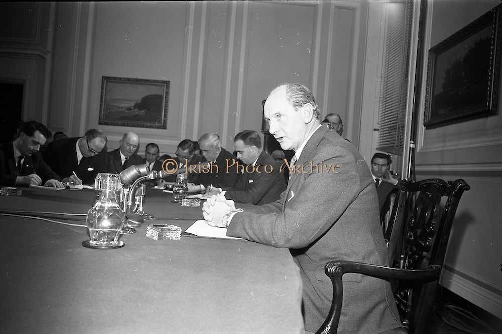 17/11/1966<br /> 11/17/1966<br /> 17 November 1966<br /> Taoiseach Jack Lynch T.D., holds his first press conference as Taoiseach at Government Buildings, Dublin. Lynch had defeated George Colley in a ballot for the leadership of Fianna Fail on the 10th November.