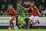 Forest Green Rovers Liam Shephard(2) and Swindon Town's Jerry Yates(9) during the EFL Sky Bet League 2 match between Forest Green Rovers and Swindon Town at the New Lawn, Forest Green, United Kingdom on 21 December 2019.