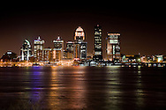 The Louisville skyline seen from across the Ohio River.