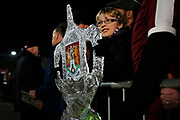 Northampton Town fan with tin foil FA Cup before the The FA Cup match between Northampton Town and Derby County at the PTS Academy Stadium, Northampton, England on 24 January 2020.