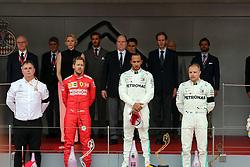 May 26, 2019 - Monte Carlo, Monaco - xa9; Photo4 / LaPresse.26/05/2019 Monte Carlo, Monaco.Sport .Grand Prix Formula One Monaco 2019.In the pic:  podium:.1st position Lewis Hamilton (GBR) Mercedes AMG F1 W10 .2nd position Sebastian Vettel (GER) Scuderia Ferrari SF90 .3rd position Valtteri Bottas (FIN) Mercedes AMG F1 W10 (Credit Image: © Photo4/Lapresse via ZUMA Press)