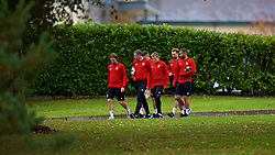 CARDIFF, WALES - Monday, October 15, 2018: Wales' players arrive for a training session at the Vale Resort ahead of the UEFA Nations League Group Stage League B Group 4 match between Republic of Ireland and Wales. Joe Allen, James Chester, George Thomas, Gwion Edwards, Ashley 'Jazz' Richards. (Pic by David Rawcliffe/Propaganda)