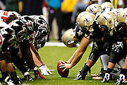 NEW ORLEANS, LA - NOVEMBER 11:  Line of scrimmage of the New Orleans Saints and the Atlanta Falcons at Mercedes-Benz Superdome on November 11, 2012 in New Orleans, Louisiana.  The Saints defeated the Falcons 31-27.  (Photo by Wesley Hitt/Getty Images) *** Local Caption ***
