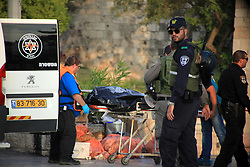 10.10.2015, Jerusalem, ISR, Gewalt zwischen Palästinensern und Israelis, im Bild Zusammenstösse zwischen Palästinensischen Demonstranten und Israelischen Sicherheitskräfte // Israeli police stand near the body of a Palestinian who, according to the police, stabbed two police officers, then other police forces opened fire and killed him, but also wounded one of their own, at the Damascus Gate of Jerusalem's Old City, Saturday, Oct. 10, 2015. Palestinians carried out two stabbing attacks in Jerusalem on Saturday before being shot dead by police, while another two Palestinians were killed during a violent demonstration near the Gaza border fence. The violence, including the first apparent revenge attack by an Israeli Friday and increasing protests by Israel's own Arab minority, has raised fears of the unrest spiraling further out of control, Israel on 2015/10/10. EXPA Pictures © 2015, PhotoCredit: EXPA/ APAimages/ Mahfouz Abu Turk<br /> <br /> *****ATTENTION - for AUT, GER, SUI, ITA, POL, CRO, SRB only*****