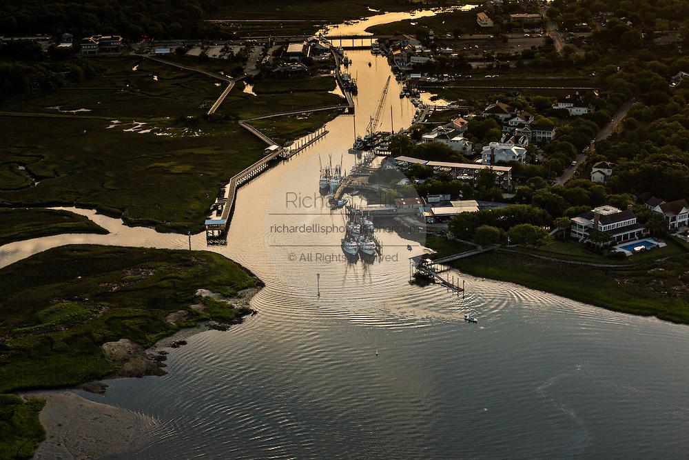 Aerial view of Shem Creek Mount Pleasant, SC.
