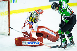 28.11.2014, Hala Tivoli, Ljubljana, SLO, EBEL, HDD Telemach Olimpija Ljubljana vs EC KAC, 22. Runde, in picture Toma Zanoski (HDD Telemach Olimpija, #10) vs Pekka Toukkola (EC KAC, #83) during the Erste Bank Icehockey League 22. Round between HDD Telemach Olimpija Ljubljana and EC KAC at the Hala Tivoli, Ljubljana, Slovenia on 2014/11/28. Photo by Morgan Kristan / Sportida