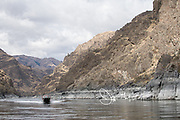 A recreational fishing boat makes its way up the Snake River in the Hells Canyon National Recreation Area.