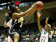 Asia Rhines-Malone (3) of Arkansas-Pine Bluff grabs a rebound against Mississippi Valley State University during the SWAC semi-finals at the Curtis Culwell Center in Garland on Friday, March 15, 2013. (Cooper Neill/The Dallas Morning News)