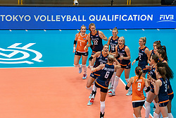 02-08-2019 ITA: FIVB Tokyo Volleyball Qualification 2019 / Belgium - Netherlands, Catania<br /> 1e match pool F in hall Pala Catania between Belgium - Netherlands. Netherlands win 3-0 / Team Netherlands Laura Dijkema #14 of Netherlands, Maret Balkestein-Grothues #6 of Netherlands, Kirsten Knip #1 of Netherlands, Nicole Koolhaas #22 of Netherlands