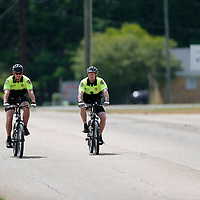 THOMAS WELLS | BUY at PHOTOS.DJOURNAL.COM <br /> Pontotoc Bicycle officers Nathan Gregory and Brad Owen have noticed how much easier it is to interact with citizens while out on patrol on their bikes.