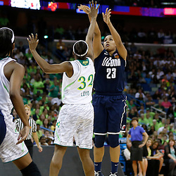 April 7, 2013; New Orleans, LA, USA; Connecticut Huskies forward Kaleena Mosqueda-Lewis (23) shoots against Notre Dame Fighting Irish guard Jewell Loyd (32) during the second half in the semifinals during the 2013 NCAA womens Final Four at the New Orleans Arena. Connecticut defeated Notre Dame 83-65. Mandatory Credit: Derick E. Hingle-USA TODAY Sports