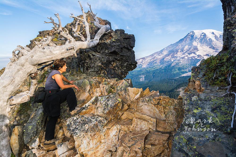 Woman admiring a view of Mt. Rainier, Mt. Rainier National Park, Washington, USA