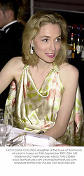 LADY LOUISA COLLINGS daughter of the Duke of Richmond, at a ball in Sussex on 15th September 2001.	OSH 140