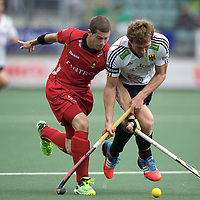 DEN HAAG - Rabobank Hockey World Cup<br /> 36 Belgium - Germany<br /> Foto: Jan Phillip Rabente (white) and John-John Dohmen (red).<br /> COPYRIGHT FRANK UIJLENBROEK FFU PRESS AGENCY