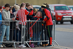 SOUTHAMPTON, ENGLAND - Saturday, November 19, 2016: Southampton's Charlie Austin poses for a photograph with a supporter ahead of the FA Premier League match against Everton at St. Mary's Stadium. (Pic by David Rawcliffe/Propaganda)