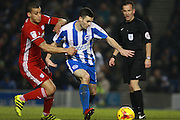 Cardiff City defender Lee Peltier (2) & Brighton & Hove Albion winger Jamie Murphy during the EFL Sky Bet Championship match between Brighton and Hove Albion and Cardiff City at the American Express Community Stadium, Brighton and Hove, England on 24 January 2017. Photo by Bennett Dean.