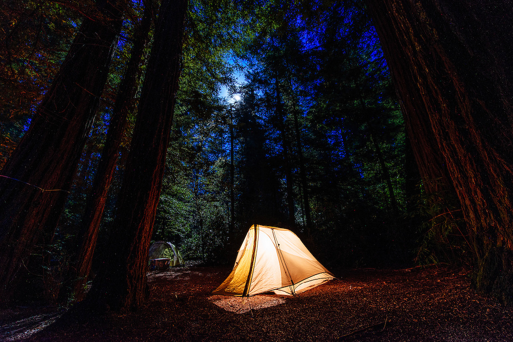 Camping under the redwoods in Jediah Smith State Park California