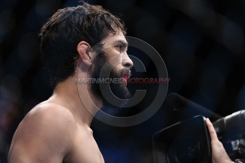 "MANCHESTER, ENGLAND, NOVEMBER 14, 2009: Rolando Delgado stands ready in his corner during ""UFC 105: Couture vs. Vera"" inside the MEN Arena in Manchester, United Kingdom."