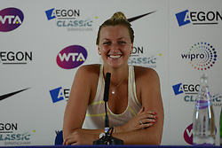 June 21, 2017 - Birmingham, England - PETRA KVITOVA of the Czech Republic  chats with the media after winning her second round match v. N. Broady in the Aegon Classic Birmingham tennis tournament. (Credit Image: © Christopher Levy via ZUMA Wire)