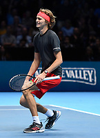 Tennis - 2018 Nitto ATP Finals at The O2 - Day Eight<br /> <br /> Final Singles: Novak Djokovic (SRB) vs. Alexander Zverev (GER)<br /> <br /> Zverev falls to his knees as he claims the title 6-4, 6-3.<br /> <br /> COLORSPORT/ASHLEY WESTERN