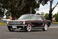 1966 Ford Mustang C Code Coupe - Custom Maroon.Sandown Raceway, Springvale, Victoria.3rd December 2011.(C) Joel Strickland Photographics..Use information: This image is intended for Editorial use only (e.g. news or commentary, print or electronic). Any commercial or promotional use requires additional clearance.