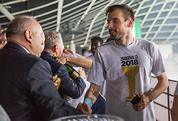Dino Stiglec of NK Olimpija receiving a medal from Radenko Mijatovic, president of NZS at Trophy ceremony after winning during football match between NK Aluminij and NK Olimpija Ljubljana in the Final of Slovenian Football Cup 2017/18, on May 30, 2018 in SRC Stozice, Ljubljana, Slovenia. Photo by Vid Ponikvar / Sportida