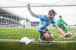 Dundee's Declan Gallagher and Dundee's keeper Kyle Letheren can't stop Falkirk's Jay Fulton scoring their second goal.<br /> Falkirk 3 v 1 Dundee, 21/9/2013.<br /> &copy;Michael Schofield.