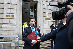 © Licensed to London News Pictures. 09/11/2016. London, UK. Secretary of State for Northern Ireland James Brokenshire speaks to the media as he leaves 70 Whitehall after the first meeting of forum to discuss Brexit with ministers from the administrations of Northern Ireland, Scotland and Wales. Photo credit: Rob Pinney/LNP
