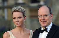 Prince Albert ll and Princess Charlene of Monaco attend the Yorkshire Variety Club Golden Jubilee Charity Ball at Harewood House near Leeds on September 4, 2011